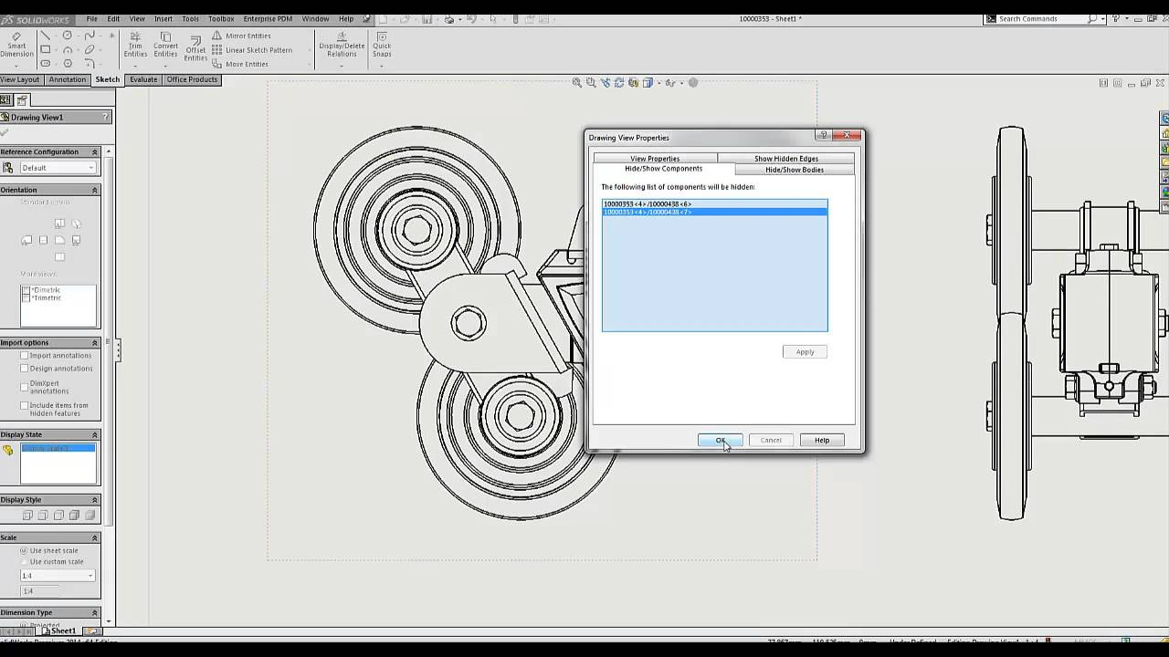 Video Tech Tip Show And Hide Components In Drawing Views All Electronic Component Illustration On This Page Following Pages Solidworks