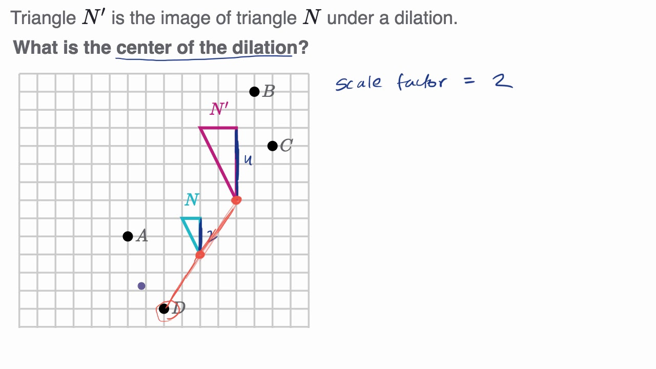 Example identifying the center of dilation - YouTube [ 720 x 1280 Pixel ]