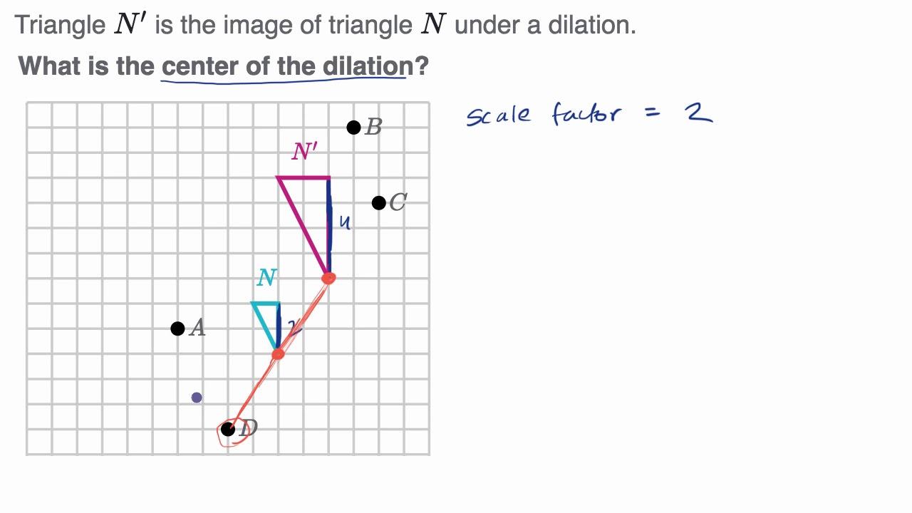 medium resolution of Example identifying the center of dilation - YouTube
