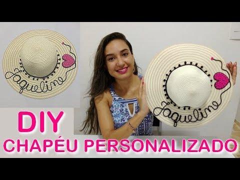 eeb3cdbfaa6fe DIY  Chapéu de praia personalizado com nome - YouTube