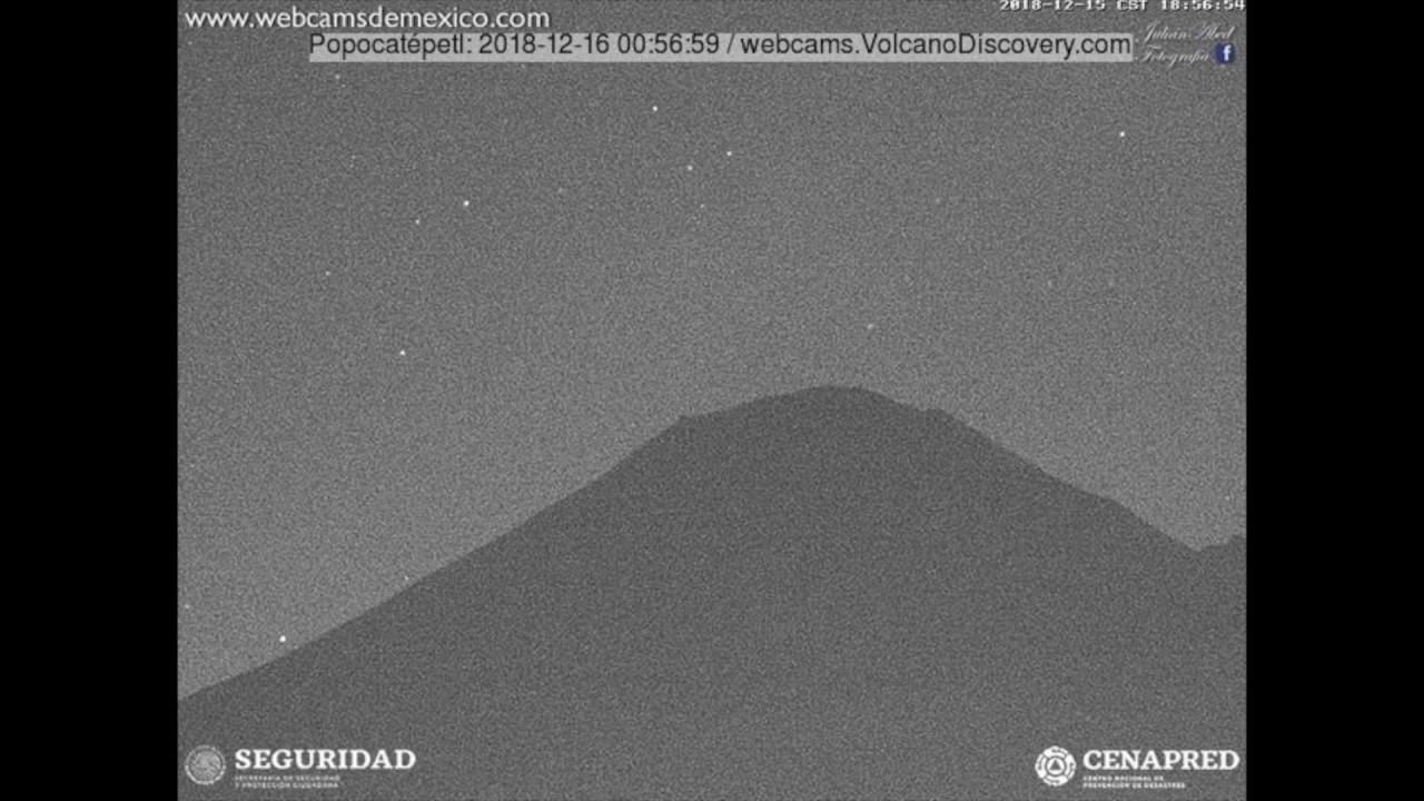 VolcanoDiscovery: Popocatepetl volcano eruption evening of 15 Dec 2018