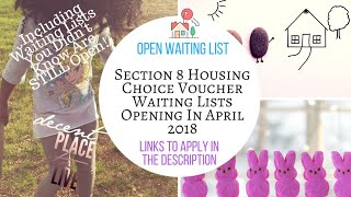 2018 Section 8 Waiting Lists Open in April