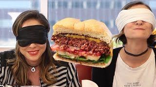 Trying MEATLESS Beyond Burger VS REAL Burger ft. Ava Gordy, Shira Lazar | What's Trending Originals!