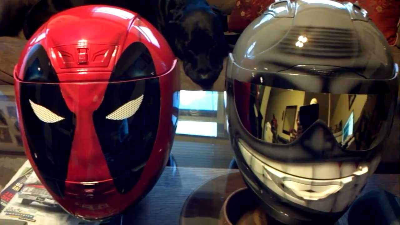 Deadpool And Smiling Face Helmet Gold Shades Custom