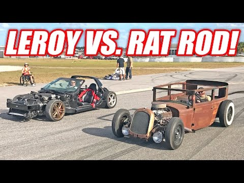 Leroy Stripped Corvette vs. RAT ROD Race!