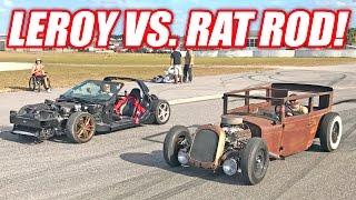 Leroy Stripped Corvette vs. RAT ROD Race!
