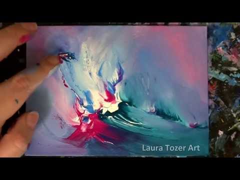 Abstract Painting with Finger Painting Artist 🎨 Pink 💖 Blue 💙 Turquoise