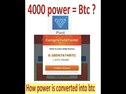 pivot app  exchange ratio between power and btc, how power is converted into btc
