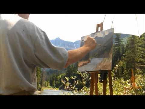 Mark Ogle Painting Garden Wall Glacier Park