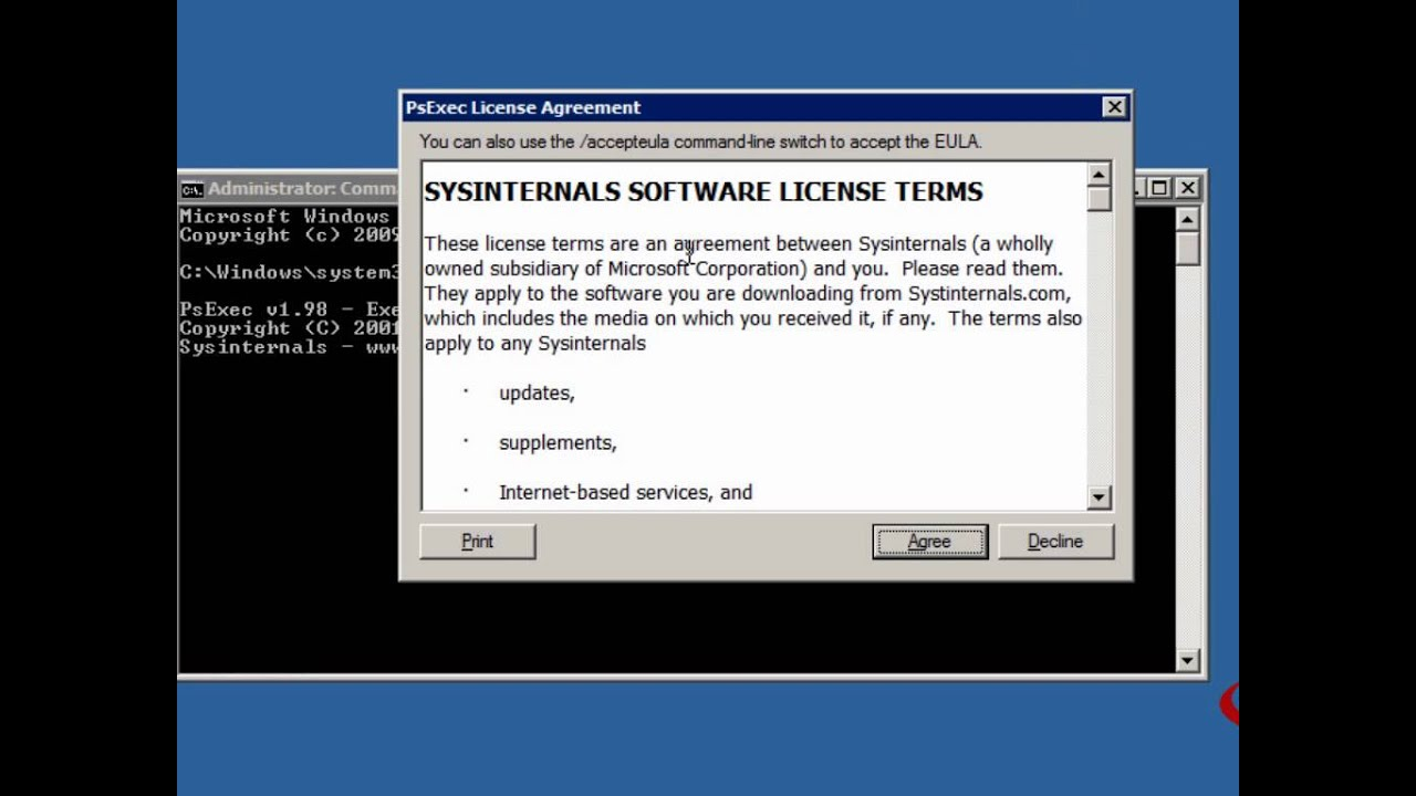 Windows Sysinternals PsExec Tool - Run CMD Prompt as System Account