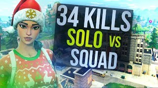 Nutty Hunting Rifle Shots -  34 Kill Solo vs Squad (Fortnite Battle Royale)