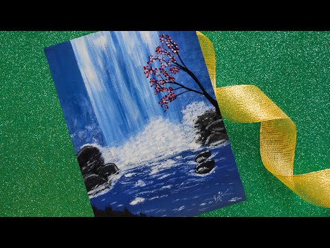 Easy Waterfall Acrylic Painting for beginners On Canvas || Step by Step Waterfall Landscape Painting