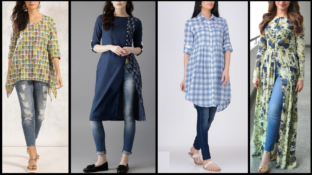 4b7f7922 Latest 2017 Trendy Kurtis designs | Long shirt with jeans | long kurtis for  Daily wear