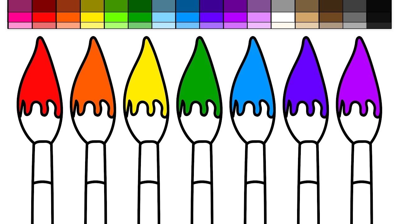 Learn Colors For Kids And Color Paint Brushes Rainbow Coloring Page