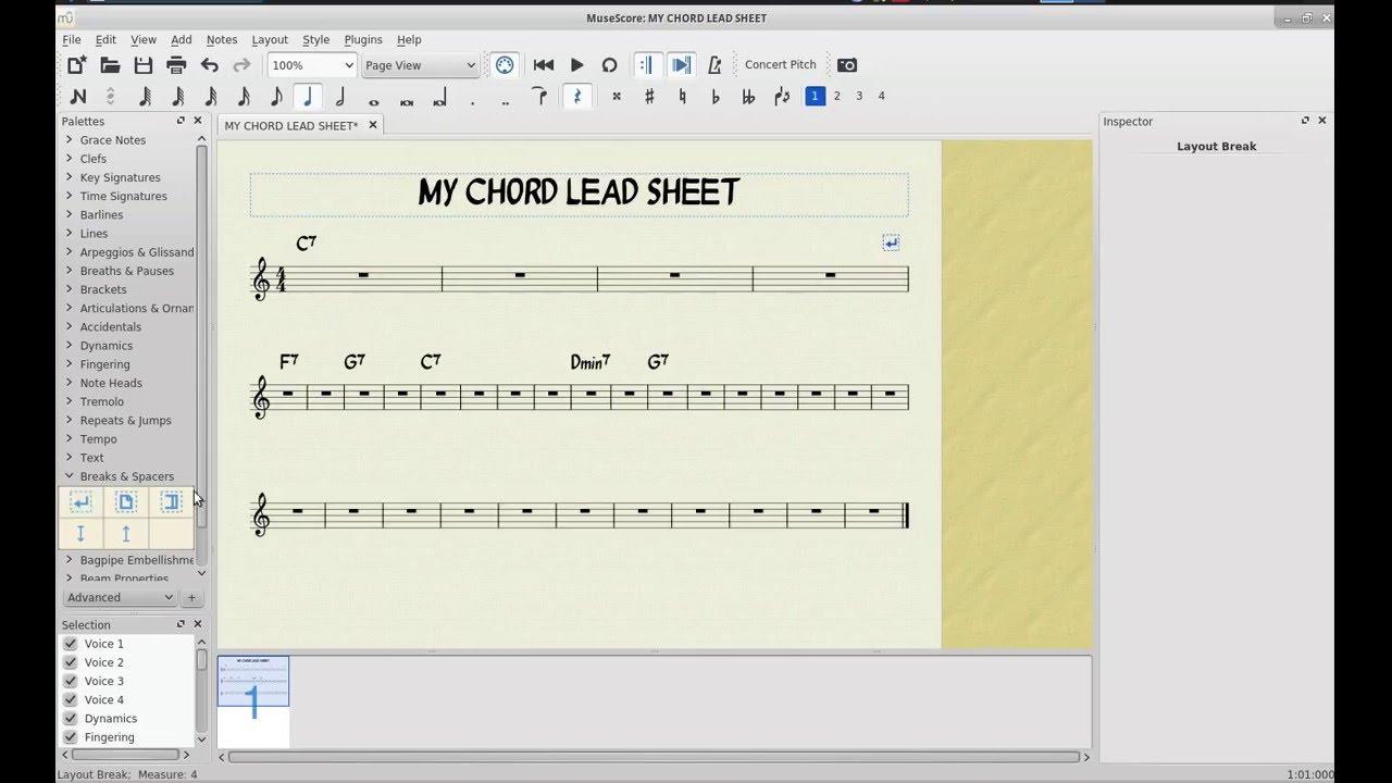 Creating a Simple Chord Lead Sheet with MuseScore