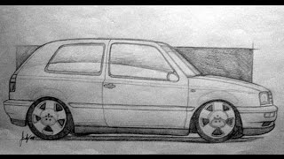 How to draw vw golf mk3