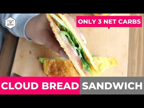 Keto Cloud Bread Salmon Sandwich 3 NET CARBS