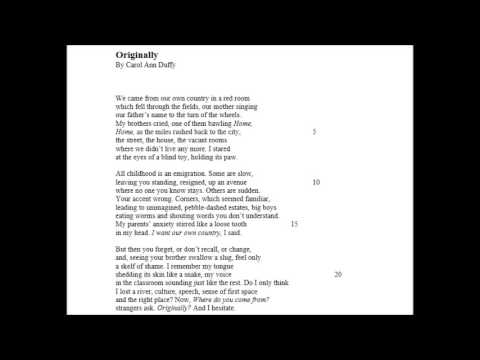 in mrs tilscher s class by carol The poem ' in mrs tilscher's class' written by carol ann duffy, is written in free   disturbed female characters in shakespeare, browning and duffy´s works.