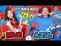 🍉 24 HORAS COMIENDO ROJO vs AZUL 🌈 Reto PASO UN DÍA probando COMIDA POR COLORES challenge