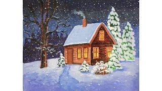 Уроки рисования. Как нарисовать зиму гуашью how to draw a winter scene(Узнайте больше о материалах для детского творчества на этом сайте http://erichkrause.com ▻ Скачайте видео урок