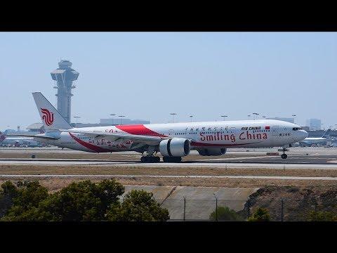 """Air China """"Smiling China"""" Boeing 777-300ER [B-2035] Landing at LAX."""
