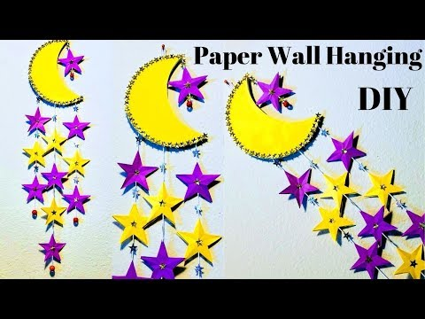 DIY| Moon and Stars Wall decoration idea with papers| Home decoration ideas| Paper DIYs|CrazeeCrafts