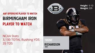 Alliance of American Football | Birmingham Iron  -  Runback Trent Richardson