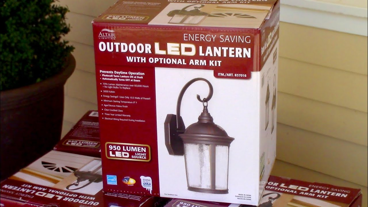 How to install outdoor light fixture costcos outdoor led porch how to install outdoor light fixture costcos outdoor led porch lantern altair 917884 youtube aloadofball Images