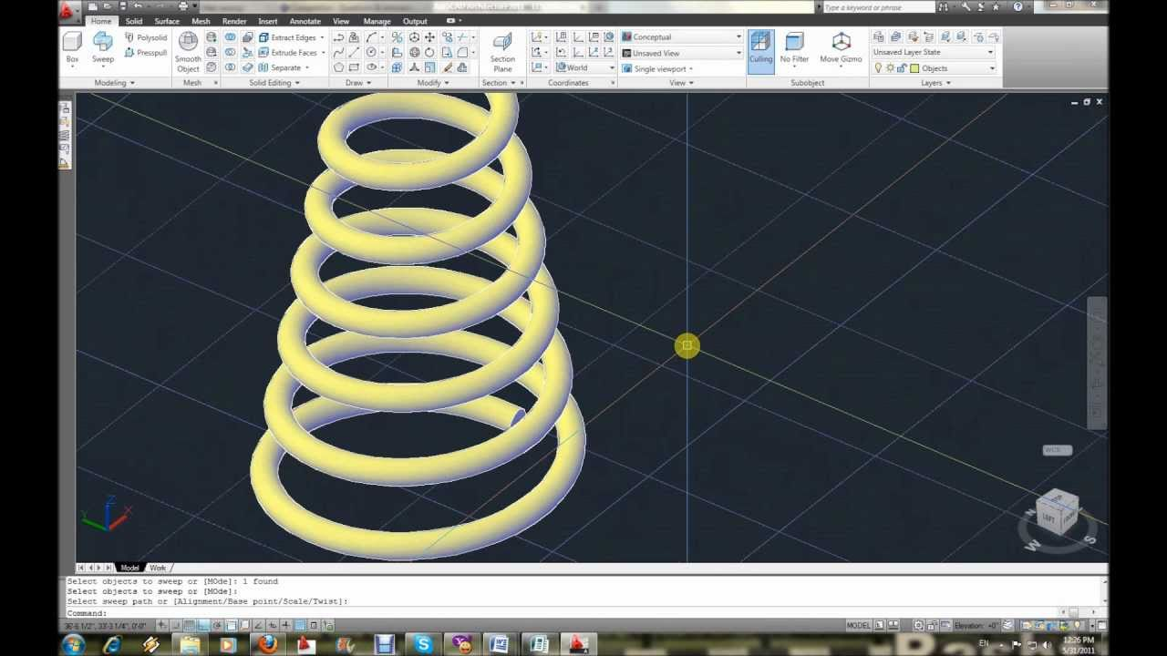 Autocad 3d Modeling Part 11 Helix Sweep Youtube
