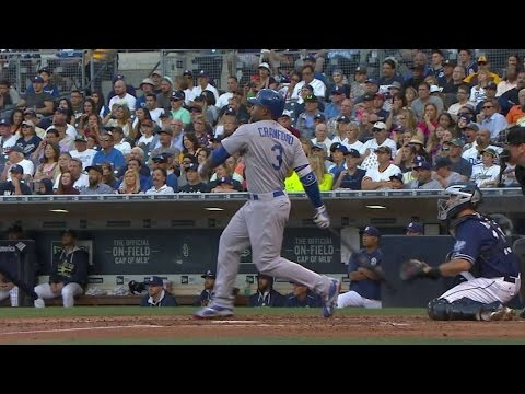 LAD@SD: Crawford opens scoring with an RBI double