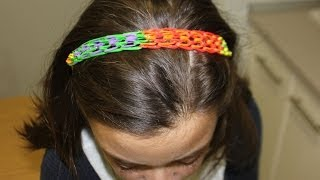 Repeat youtube video Diadema de ligas o gomitas Rainbow Loom sin telar. Dragon scales Rainbow Loom