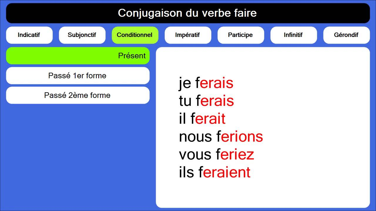 Conjugaison Du Verbe Faire Youtube