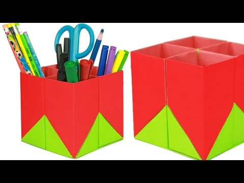 How to Make Origami Pen Holder/Stand | DIY- Paper Pen/Pencil Holder | Paper Pencil Holder