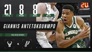 Giannis Antetokounmpo drops 21-8-8 in Bucks' W over Spurs ❕