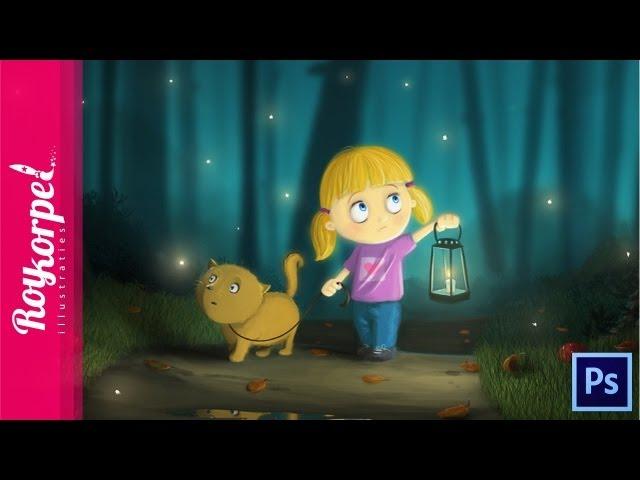 Fireflies - Photoshop speedart - digital painting - time-lapse