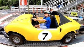 Ride on Ferrari Sport Car at Amusement Park for Kids | Fun Play Time with Tim and Daddy