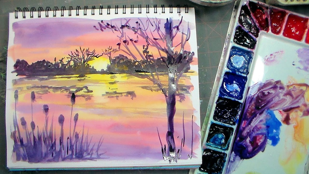 Color mixing and brushes for beginners plus sunset for How to watercolor for beginners