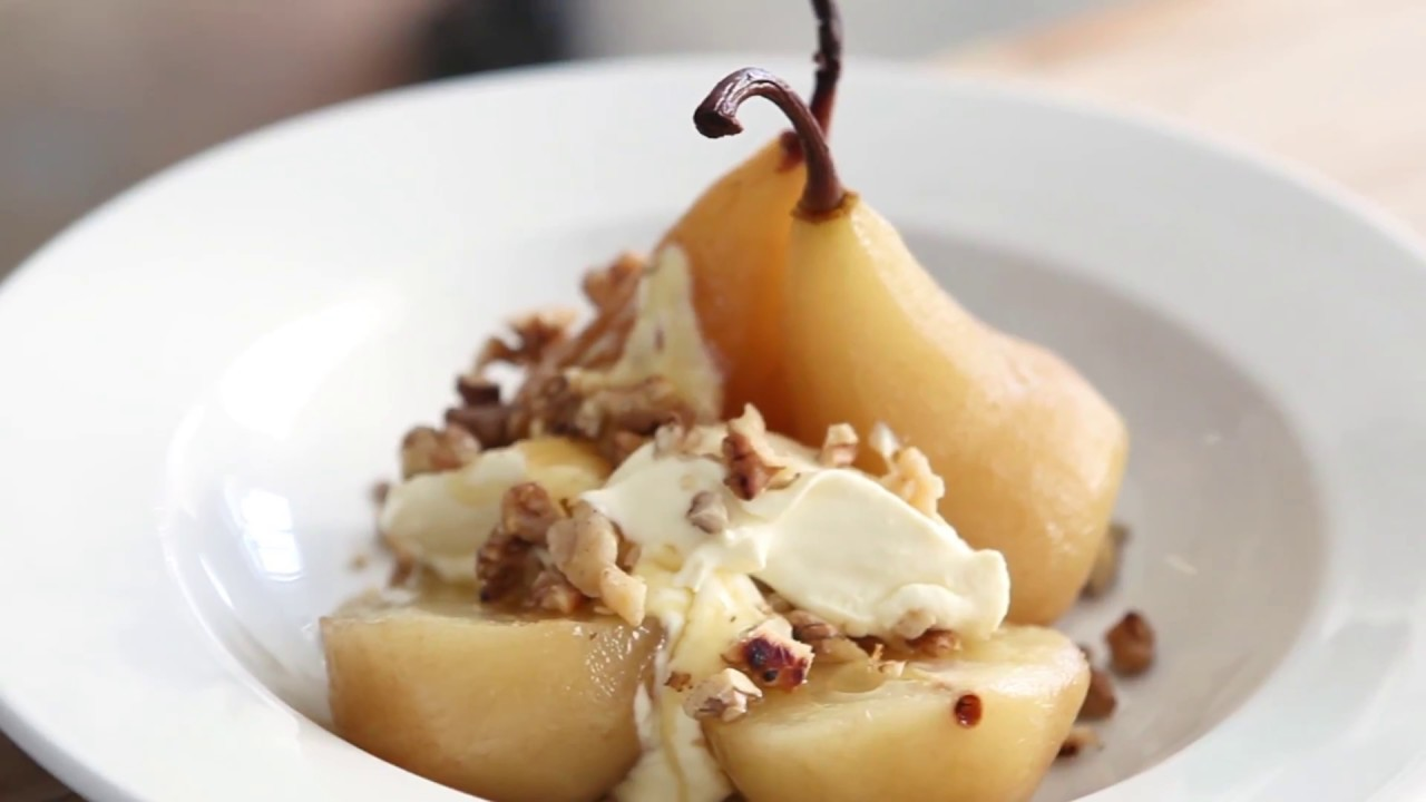 pears poached in port with mascarpone