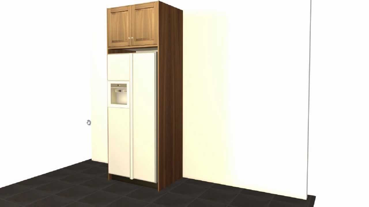 Create a standard GE refrigerator enclosure using Barker Cabinets ...