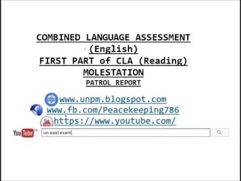 CLA TEST # Molestation COMBINED LANGUAGE ASSESSMENT (English) FIRST PART of CLA (Reading)