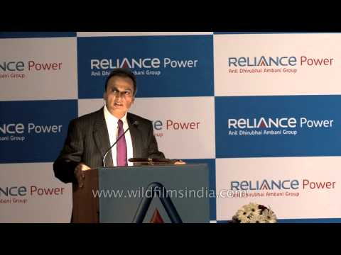 Anil Ambani speaks during Reliance Power's IPO listing ceremony - Mumbai