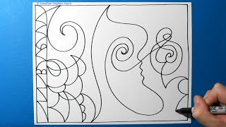 Superhero \/ Satisfying Abstract Art \/ Spontaneous Abstraction \/ One Line Drawing Pattern #43