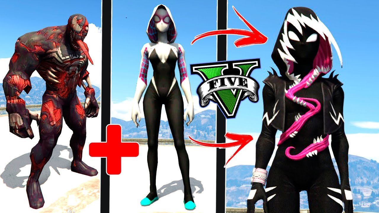VENOM + SPIDER GWEN = GWENOM no GTA 5 ! ( GTA V Mods )