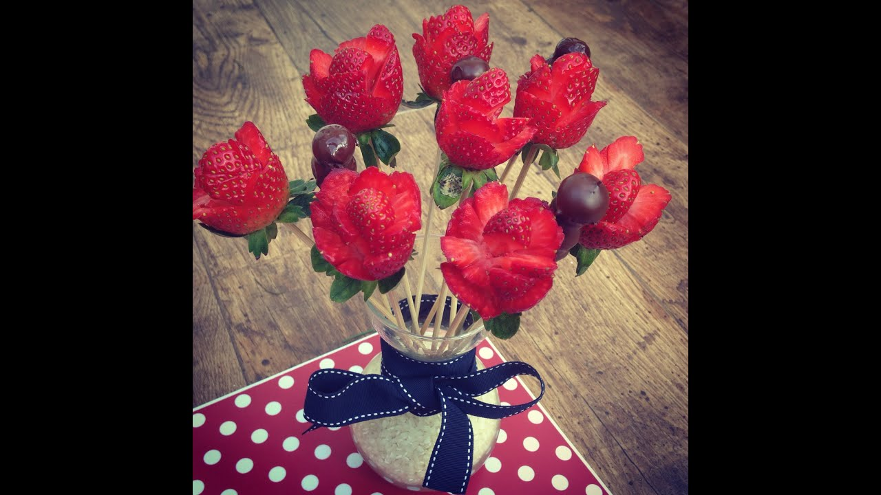 Strawberries Bouquet How To Make Strawberries Roses Youtube