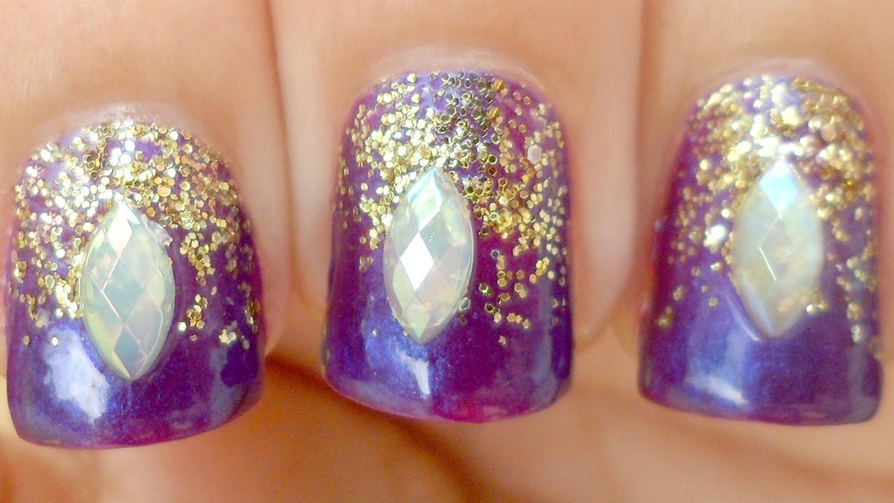 Fantasy Falling Glitter Nails ~ Easy Tutorial for short nails - YouTube