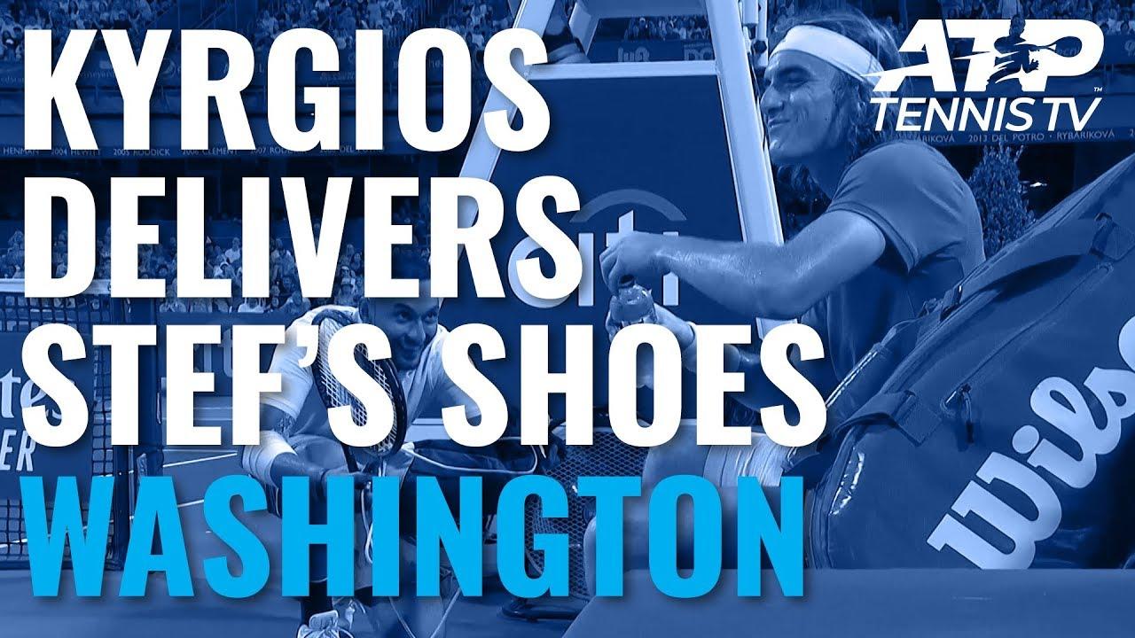 FUNNY: Nick Kyrgios Delivers Shoes to Stefanos Tsitsipas   Washington 2019