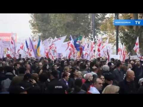 Многотысячная акция партии Саакашвили в Тбилиси