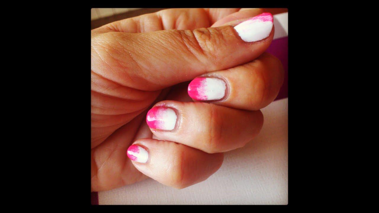 Dos diseños manicura fáciles¡¡ 1- Degradado rosa+blanco y 2- Dibujo ...