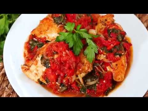 Quick And Easy Healthy Recipe -- Chicken In Spinach And Tomato Sauce