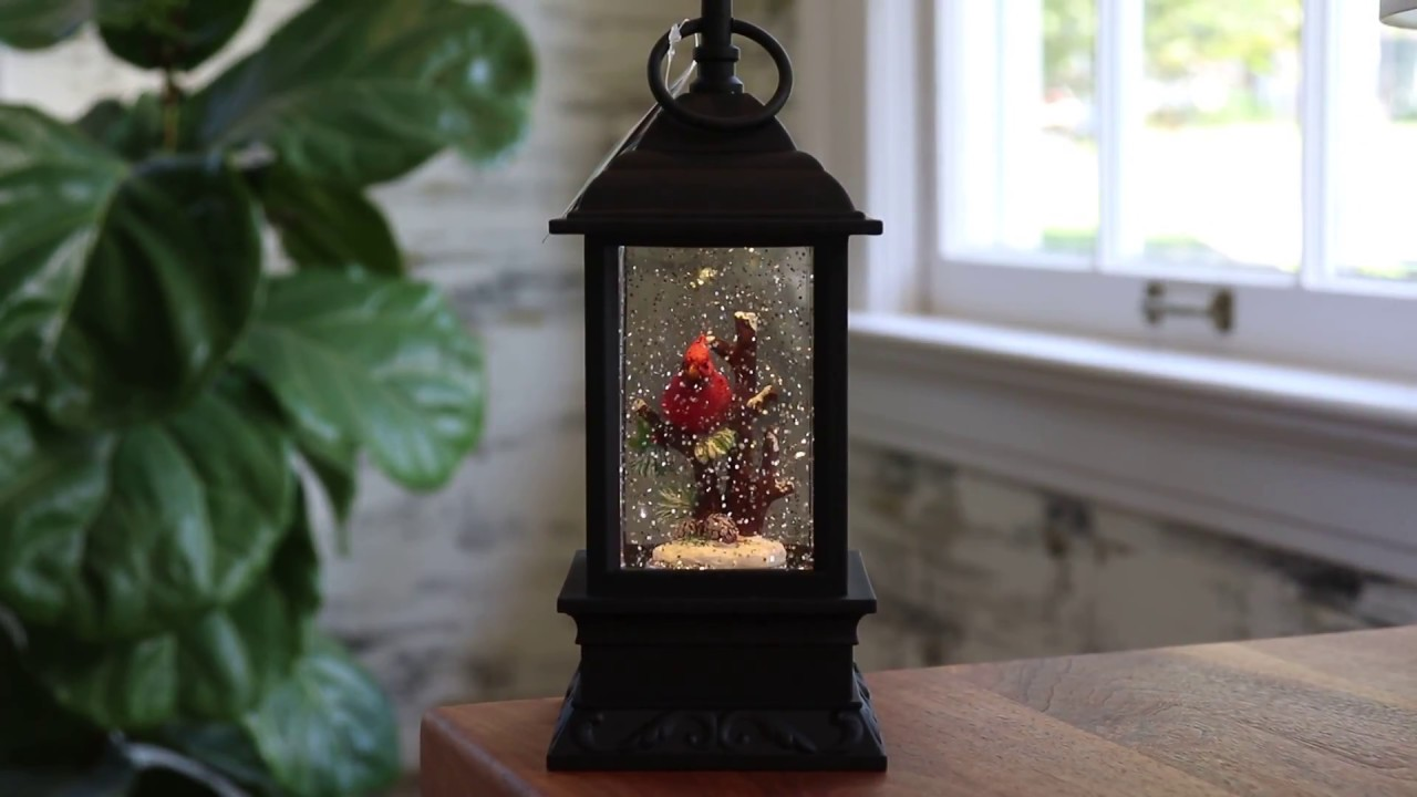 Lighted Cardinal Glitter Snow Globe Water Lantern Battery Operated